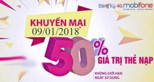 Khuyến mãi nạp thẻ 50% ngày 09/01/2018