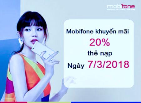 MobiFone khuyến mãi nạp thẻ ngày vàng 20% 07/03/2018